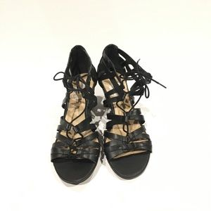 Crown Vintage Gladiator Wedge Sandals Black SZ 8